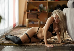 women, blonde, Guenter Stoehr, black lingerie, black stockings, on the floo ...