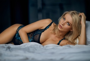 women, blonde, face, lingerie, lying on side, blue eyes, cleavage, big boob ...