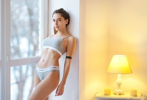 Amina Katinova, women, Maxim Maximov, belly, window, underwear, portrait, lamp
