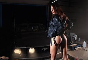 Aleksandra Ermolaeva, women, Andrew Morozow, tanned, leotard, shoes, leather jackets, ass, back, car