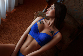 women, tanned, blue lingerie, tattoo, sitting, belly, looking away