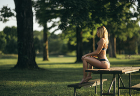 women, blondesitting, lingerie, depth of field, tanned, ass, tattoo, women  ...