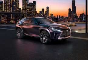 автомобиль, машина, Lexus, UX, Concept, Luxury, Crossover, город, здания, н ...