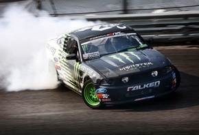 занос, ford, ford mustang, monster energy, drift