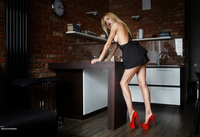 women, Artem Savinkov, sideboob, high heels, kitchen, dress, tattoo, portra ...