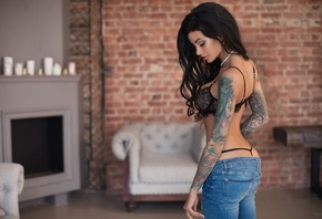 Anna Sajarova, women, pants, jeans, tanned, tattoo, black lingerie, closed  ...