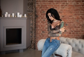 Anna Sajarova, women, pants, jeans, tanned, tattoo, black lingerie, arms crossed, closed eyes, pierced navel