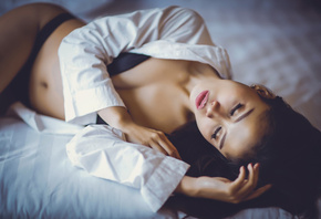 women, brunetteblack lingeriebelly, closed eyes, shirt