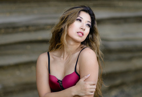 women, Kat Sweets, Marvin Chandra, portrait, face, depth of field, bra, loo ...