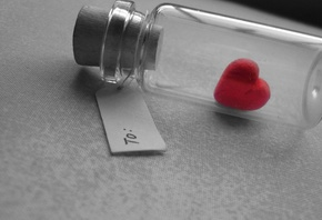 heart, caught, bottle