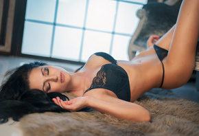 women, black lingerie, closed eyes, belly, hips, tanned, lying on back