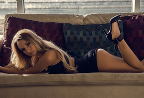 women, blonde, black lingerie, ass, high heels, couch, tanned, lying on fro ...