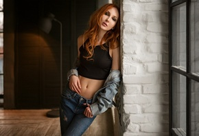 Anna Boevaya, women, redhead, Sergey Fat, pants, jeans, belly, portrait, brunette, torn jeans