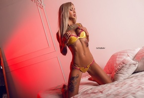 women, Viktoria Beiba, Alex Bazilev, blonde, tattoo, belly, kneeling, lingerie, yellow lingerie, tanned, red nails, in bed