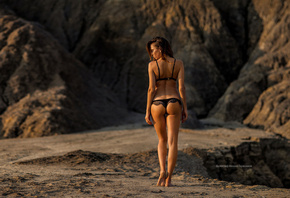 women, Mihail Gerasimov, ass, tanned, black lingerie, back, women outdoors, the gap