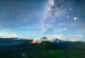 bromo, volcano, java, tenger, night, milky way, stars, indonesia