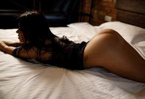 women, tanned, Artem Savinkov, ass, tattoo, in bed, lying on front