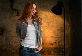 Anna Boevaya, Sergey Fat, women, portrait, redhead, closed eyes