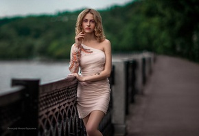 women, Mihail Gerasimov, blonde, depth of field, dress, nipple through clothing, portrait, tattoo