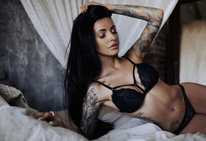 women, tanned, tattoo, black lingerie, in bed, belly, pierced navel, closed ...