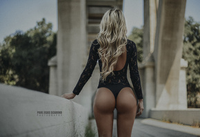 Barbie Layo, women, blonde, tanned, Paul Egas Scarino, back, long hair, depth of field, black lingerie