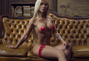 women, blonde, face, nude, boobs, couch, tattoo, tanned, ribs, fitness mode ...