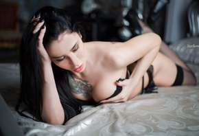 women, brunette, in bed, black nails, boobs, black lingerie, tattoo, black hair, lying on front, depth of field, closed eyes