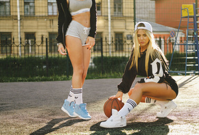 women, sportswear, blonde, tanned, ball, sneakers, white stockings, sweater, women outdoors, baseball caps, squatting, belly