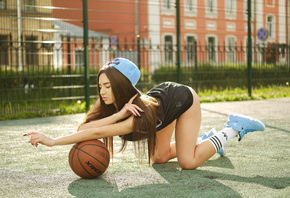 women, ass, baseball caps, sneakers, sportswear, ball, tanned, women outdoors, white stockings, closed eyes