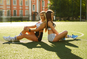 women, blonde, sneakers, sitting, tanned, women outdoors, sportswear, white ...