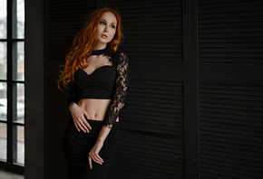 Anna Boevayawomen, redhead, Sergey Fat, belly, portrait, black clothing