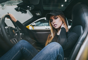 women, baseball caps, blonde, pants, jeans, sitting, women with cars, car,  ...
