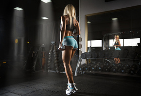women, blonde, ass, Artem Savinkov, sneakers, dumbbells, sportswear, tanned, mirror, reflection