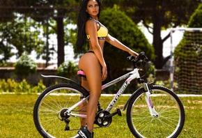 women, tanned, ass, bicycle, grass, women outdoors, sneakers, black panties, depth of field, looking away, long hair
