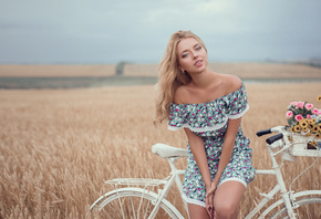 women, blonde, depth of field, bicycle, dress, portrait, women outdoors