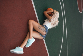 women, blonde, tanned, balls, on the floor, tattoo, ass, smiling, sneakers