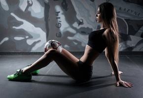 women, sitting, tanned, sneakers, sportswear, ball, long hair, Black top, short, short shorts, on the floor, Anton Vladimirovich