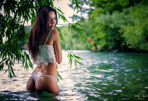 women, tanned, ass, panties, depth of field, river, back dimples, women outdoors