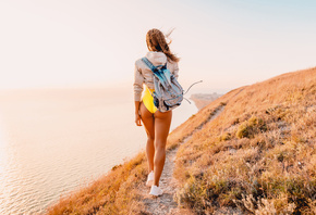 women, bag, one-piece swimsuit, tanned, back, sneakers, sea, women outdoors, the gap, sweater