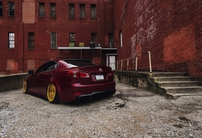 Lexus, IS-F, Stance, tuning, JDM, бордовый, город