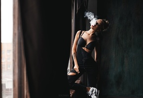 Alina Ostraya, women, tanned, smoke, tattoo, black bras, sneakers, red lipstick, overalls, blonde