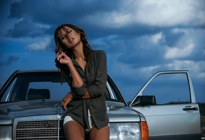 women, shirt, tanned, closed eyes, Biocity Monte, car, Mercedes-Benz, sky, portrait