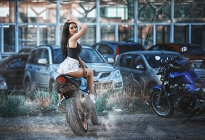 women, sitting, ass, jean shorts, car, motorcycle, red nails, red lipstick, ...
