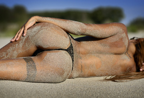 women, Giovanni Zacche, ass, sand, tattoo, tanned, back, depth of field, wo ...