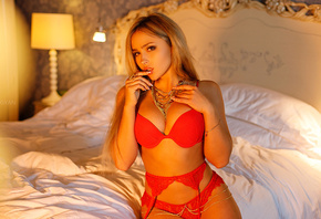 women, blonde, tanned, sitting, finger on lips, bed, depth of field, belly, lamp, red lingerie, long hair