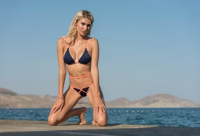 women, tanned, blonde, blue bikinis, belly, sea, women outdoors, kneeling,  ...