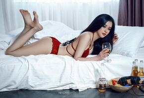 women, Asian, in bed, red lingerie, black hair, ass, lying on front, painted nails, beer, bottles, headphones