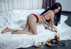 women, Asian, in bed, red lingerie, black hair, ass, painted nails, tattoo, beer, headphones, bottles