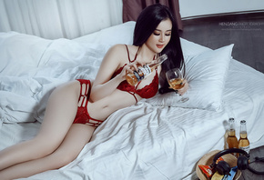 women, Asian, in bed, red lingerie, black hair, belly, beer, bottles, headphones, pillow
