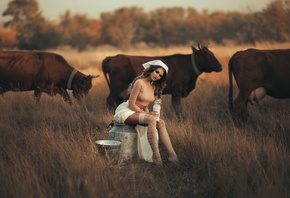 women, sitting, stockings, shirt, pigtails, tanned, depth of field, nipple through clothing, women outdoors, cow